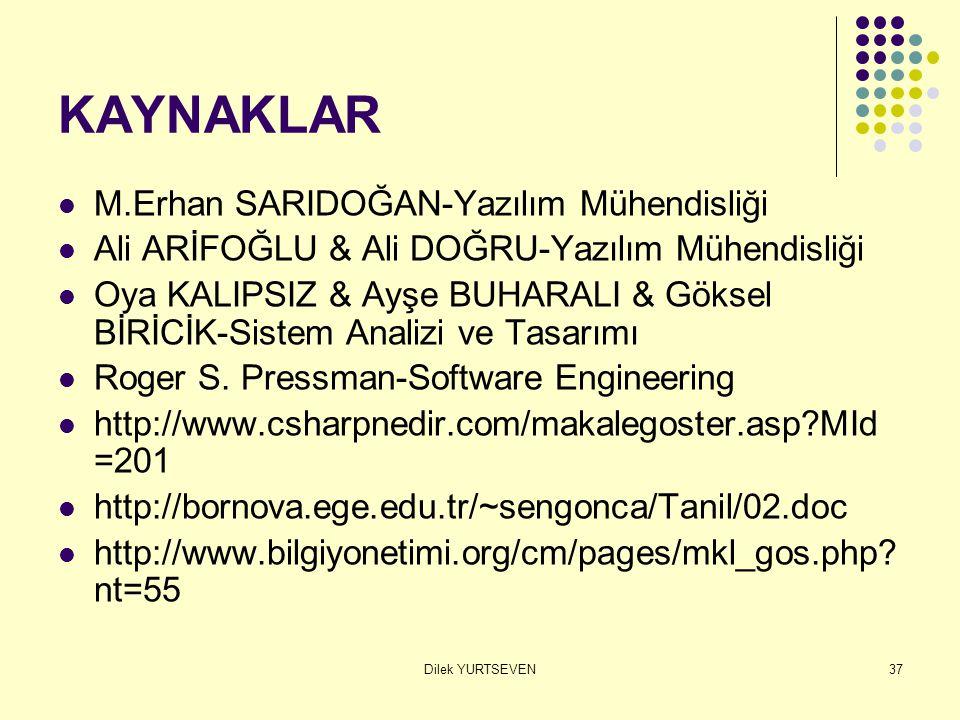 KAYNAKLAR M.Erhan SARIDOĞAN-Yazılım Mühendisliği