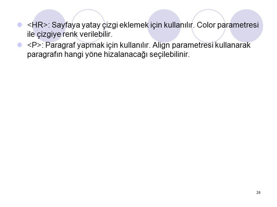 <HR>: Sayfaya yatay çizgi eklemek için kullanılır
