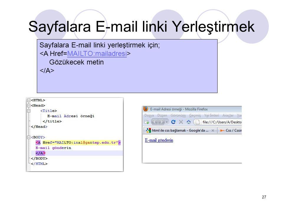 Sayfalara E-mail linki Yerleştirmek