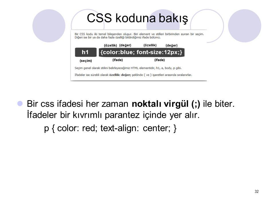 CSS koduna bakış Bir css ifadesi her zaman noktalı virgül (;) ile biter. İfadeler bir kıvrımlı parantez içinde yer alır.