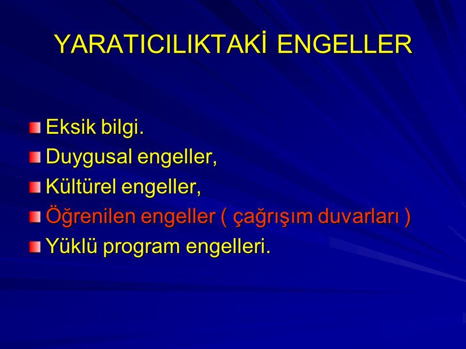 YARATICILIKTAKİ ENGELLER