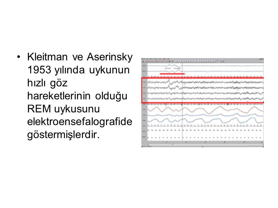 Kleitman ve Aserinsky 1953 yılında uykunun hızlı göz hareketlerinin olduğu REM uykusunu elektroensefalografide göstermişlerdir.