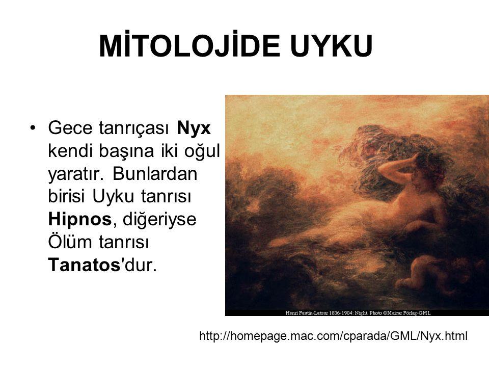 MİTOLOJİDE UYKU Gece tanrıçası Nyx kendi başına iki oğul yaratır. Bunlardan birisi Uyku tanrısı Hipnos, diğeriyse Ölüm tanrısı Tanatos dur.