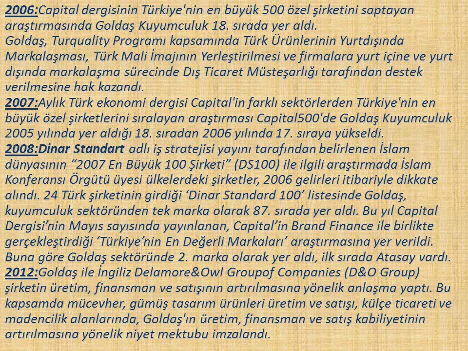 2006:Capital dergisinin Türkiye nin en büyük 500 özel şirketini saptayan araştırmasında Goldaş Kuyumculuk 18.