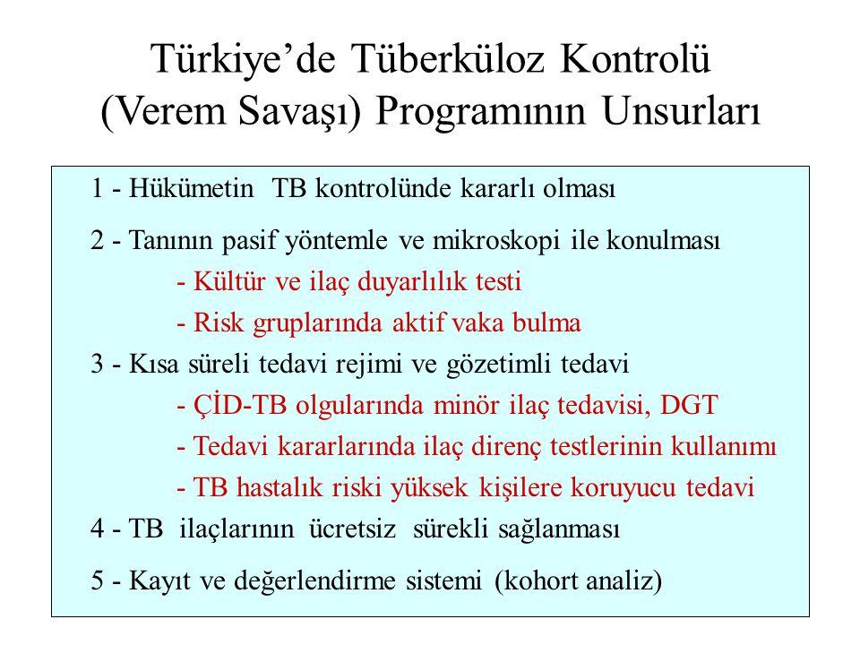 Türkiye'de Tüberküloz Kontrolü (Verem Savaşı) Programının Unsurları