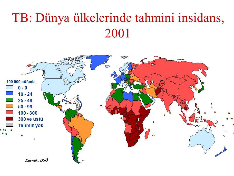 TB: Dünya ülkelerinde tahmini insidans, 2001