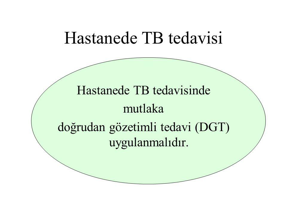 Hastanede TB tedavisi Hastanede TB tedavisinde mutlaka