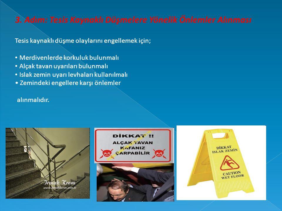 3. Adım: Tesis Kaynaklı Düşmelere Yönelik Önlemler Alınması