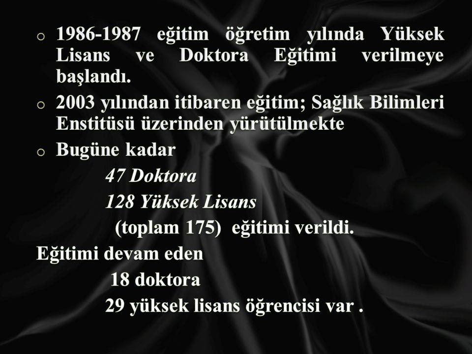 1986-1987 eğitim öğretim yılında Yüksek Lisans ve Doktora Eğitimi verilmeye başlandı.