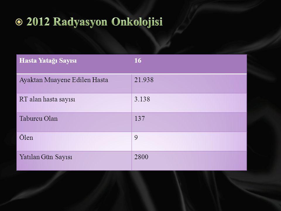 2012 Radyasyon Onkolojisi Hasta Yatağı Sayısı 16