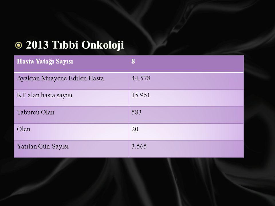2013 Tıbbi Onkoloji Hasta Yatağı Sayısı 8 Ayaktan Muayene Edilen Hasta