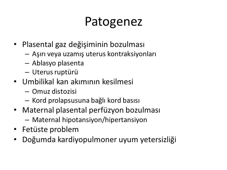 Patogenez Plasental gaz değişiminin bozulması