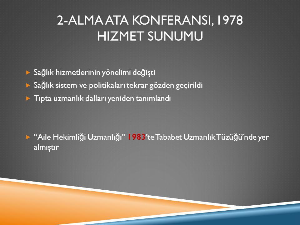2-ALMA ATA KONFERANSI, 1978 Hizmet Sunumu