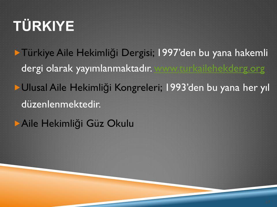 Türkiye Türkiye Aile Hekimliği Dergisi; 1997'den bu yana hakemli dergi olarak yayımlanmaktadır. www.turkailehekderg.org.