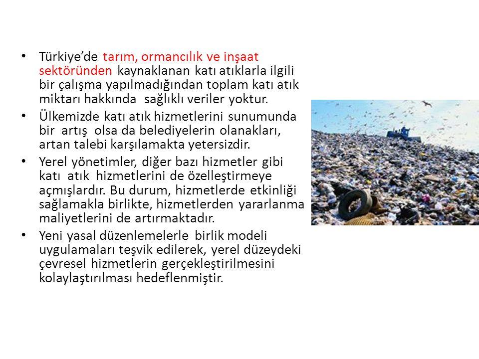 Türkiye'de tarım, ormancılık ve inşaat sektöründen kaynaklanan katı atıklarla ilgili bir çalışma yapılmadığından toplam katı atık miktarı hakkında sağlıklı veriler yoktur.