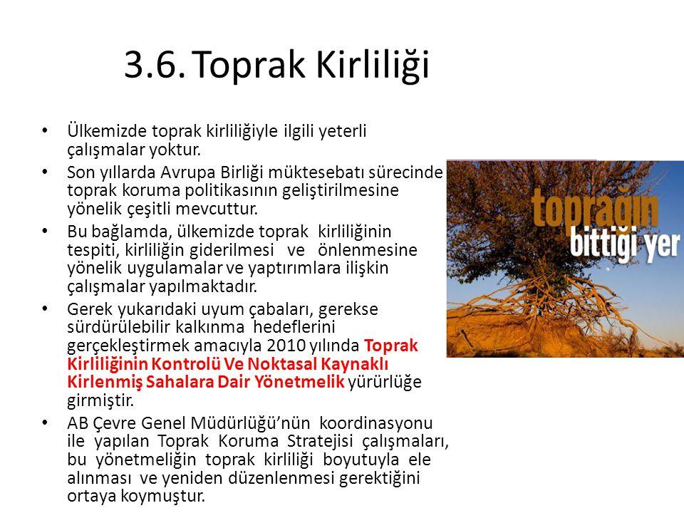3.6. Toprak Kirliliği Ülkemizde toprak kirliliğiyle ilgili yeterli çalışmalar yoktur.