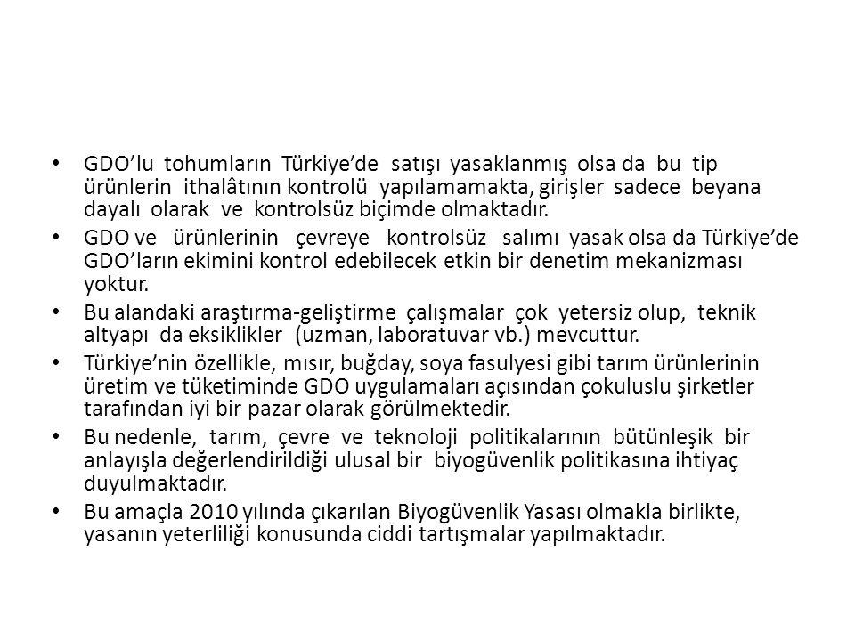 GDO'lu tohumların Türkiye'de satışı yasaklanmış olsa da bu tip ürünlerin ithalâtının kontrolü yapılamamakta, girişler sadece beyana dayalı olarak ve kontrolsüz biçimde olmaktadır.