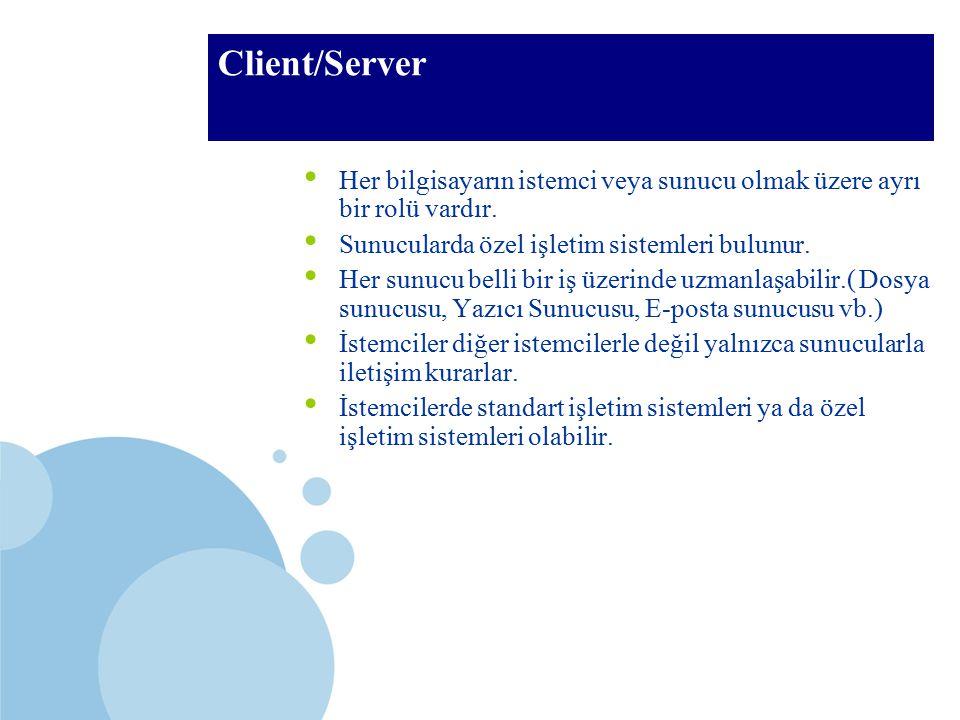 Client/Server Her bilgisayarın istemci veya sunucu olmak üzere ayrı bir rolü vardır. Sunucularda özel işletim sistemleri bulunur.