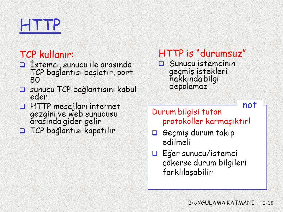 HTTP HTTP is durumsuz TCP kullanır: not