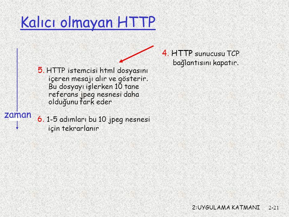Kalıcı olmayan HTTP zaman 4. HTTP sunucusu TCP bağlantısını kapatır.