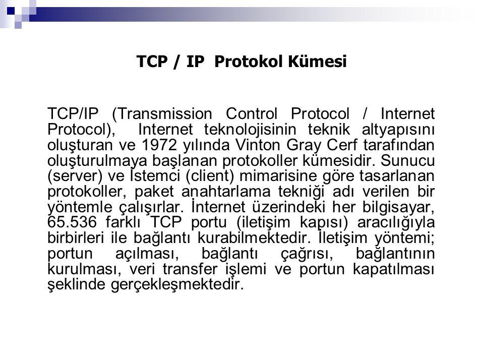 TCP / IP Protokol Kümesi