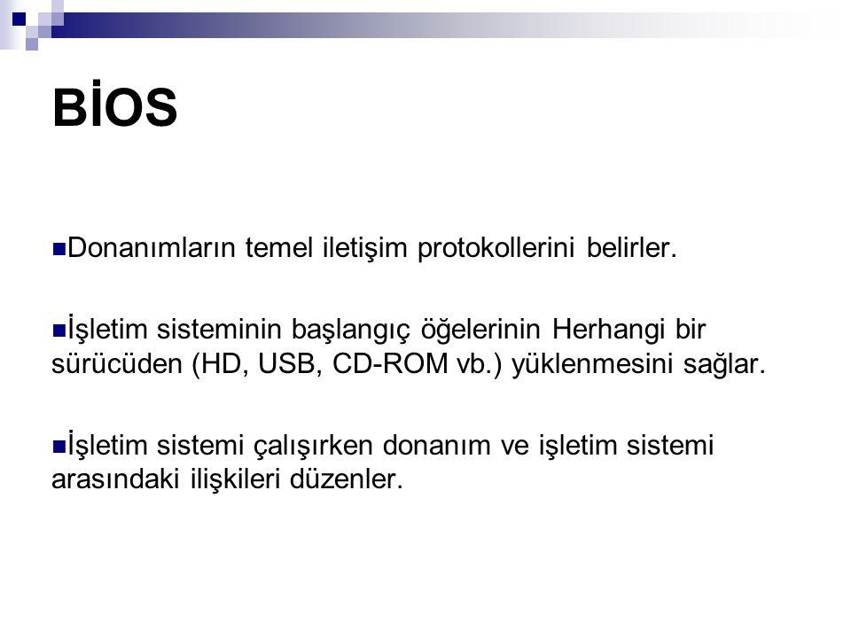 BİOS Donanımların temel iletişim protokollerini belirler.