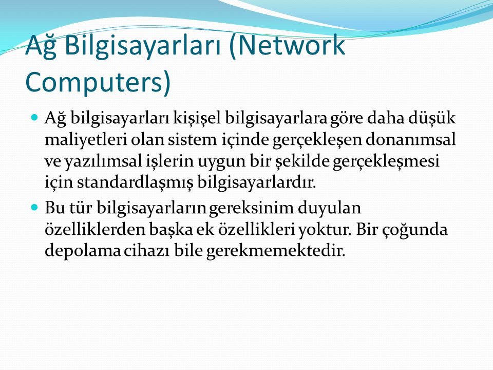 Ağ Bilgisayarları (Network Computers)