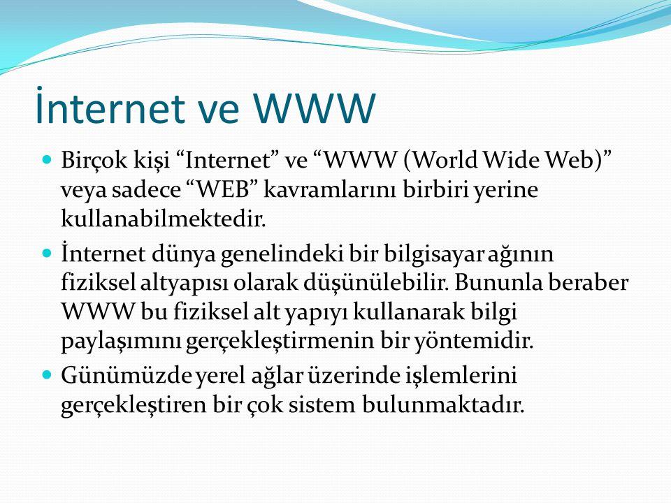 İnternet ve WWW Birçok kişi Internet ve WWW (World Wide Web) veya sadece WEB kavramlarını birbiri yerine kullanabilmektedir.