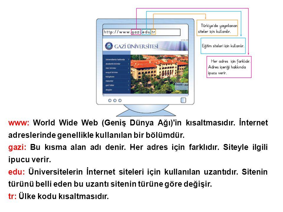 www: World Wide Web (Geniş Dünya Ağı) in kısaltmasıdır