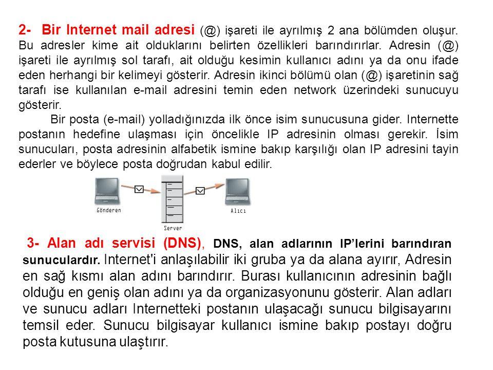 2- Bir Internet mail adresi (@) işareti ile ayrılmış 2 ana bölümden oluşur. Bu adresler kime ait olduklarını belirten özellikleri barındırırlar. Adresin (@) işareti ile ayrılmış sol tarafı, ait olduğu kesimin kullanıcı adını ya da onu ifade eden herhangi bir kelimeyi gösterir. Adresin ikinci bölümü olan (@) işaretinin sağ tarafı ise kullanılan e-mail adresini temin eden network üzerindeki sunucuyu gösterir.