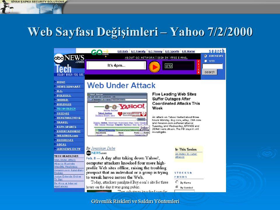 Web Sayfası Değişimleri – Yahoo 7/2/2000