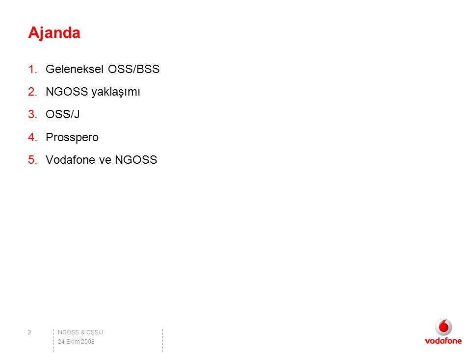 Ajanda Geleneksel OSS/BSS NGOSS yaklaşımı OSS/J Prosspero