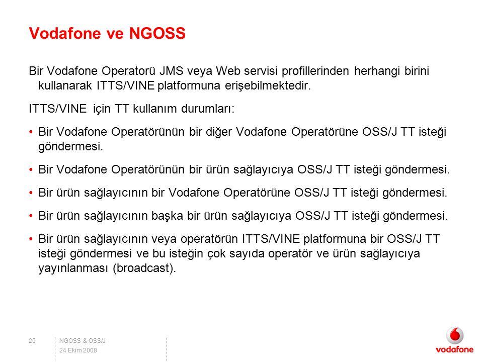 Vodafone ve NGOSS Bir Vodafone Operatorü JMS veya Web servisi profillerinden herhangi birini kullanarak ITTS/VINE platformuna erişebilmektedir.