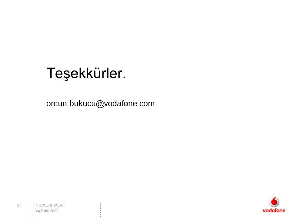 Teşekkürler. orcun.bukucu@vodafone.com NGOSS & OSS/J 24 Ekim 2008