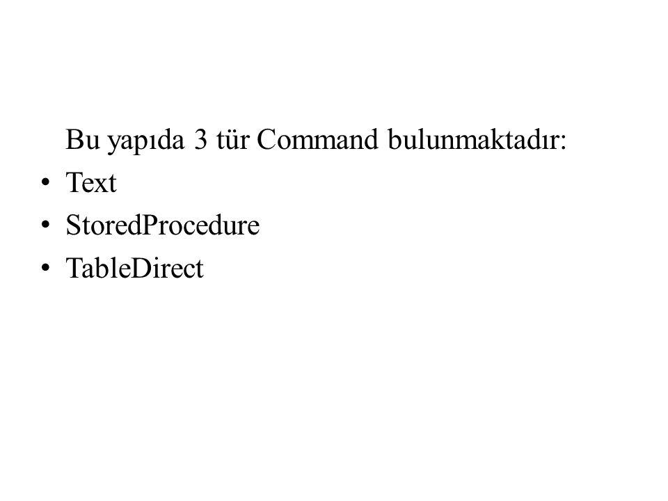 Bu yapıda 3 tür Command bulunmaktadır: