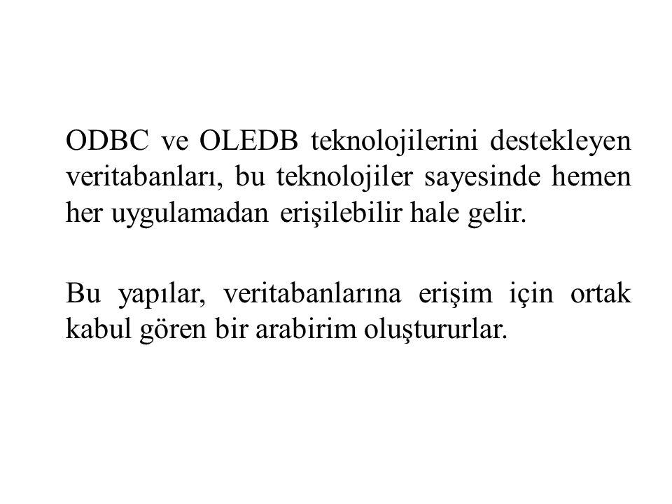ODBC ve OLEDB teknolojilerini destekleyen veritabanları, bu teknolojiler sayesinde hemen her uygulamadan erişilebilir hale gelir.