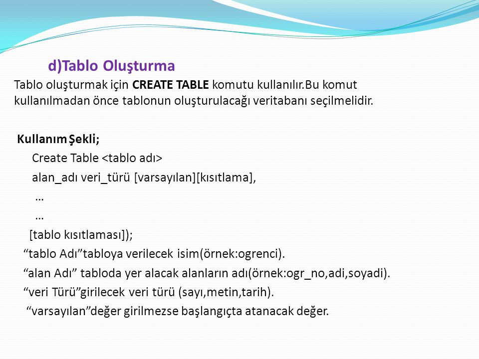 Tablo oluşturmak için CREATE TABLE komutu kullanılır