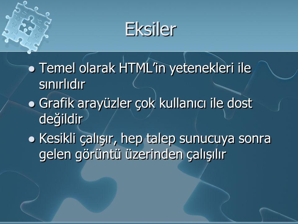 Eksiler Temel olarak HTML'in yetenekleri ile sınırlıdır