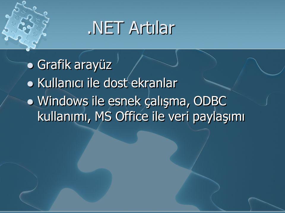 .NET Artılar Grafik arayüz Kullanıcı ile dost ekranlar