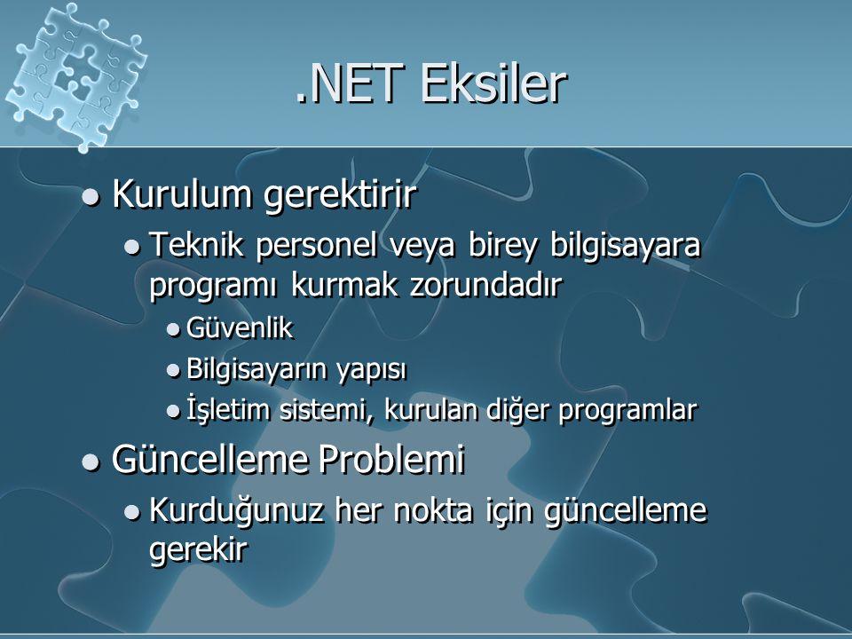 .NET Eksiler Kurulum gerektirir Güncelleme Problemi