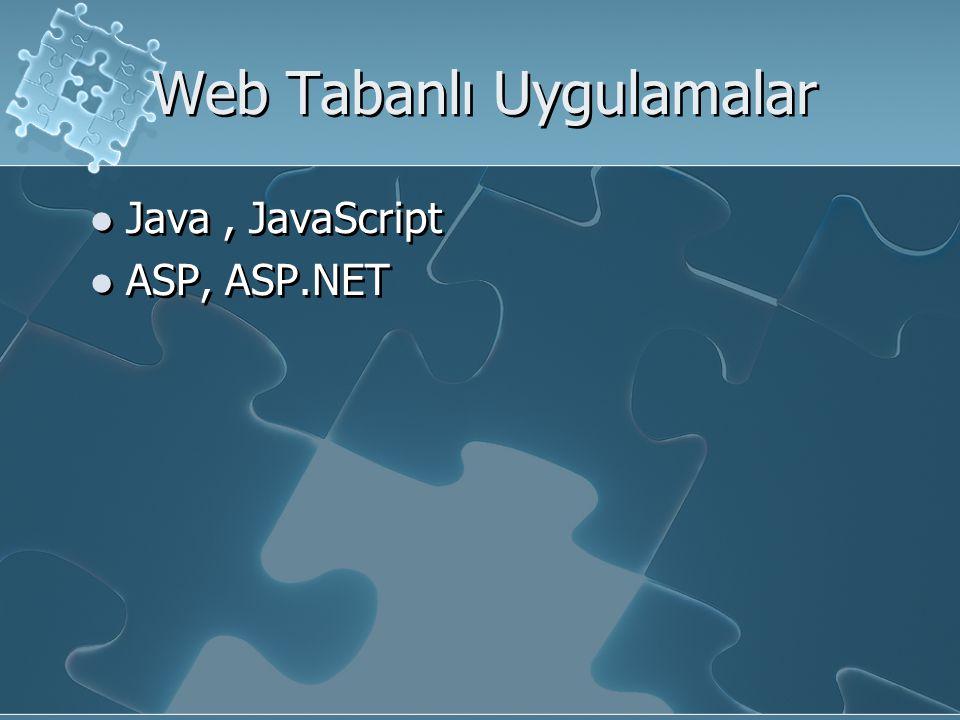 Web Tabanlı Uygulamalar