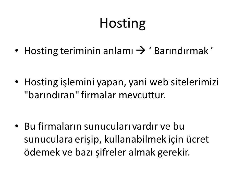 Hosting Hosting teriminin anlamı  ' Barındırmak '