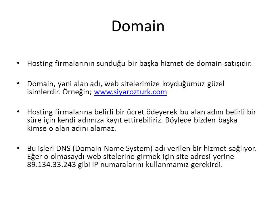 Domain Hosting firmalarının sunduğu bir başka hizmet de domain satışıdır.