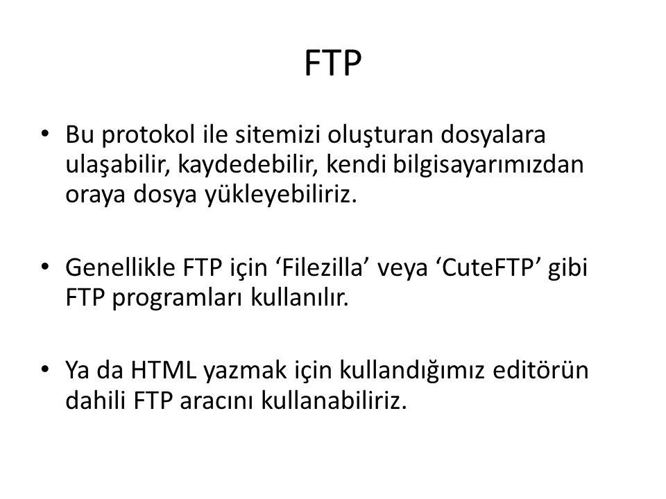 FTP Bu protokol ile sitemizi oluşturan dosyalara ulaşabilir, kaydedebilir, kendi bilgisayarımızdan oraya dosya yükleyebiliriz.
