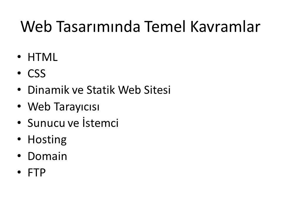Web Tasarımında Temel Kavramlar