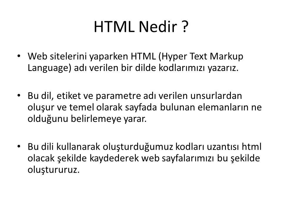 HTML Nedir Web sitelerini yaparken HTML (Hyper Text Markup Language) adı verilen bir dilde kodlarımızı yazarız.
