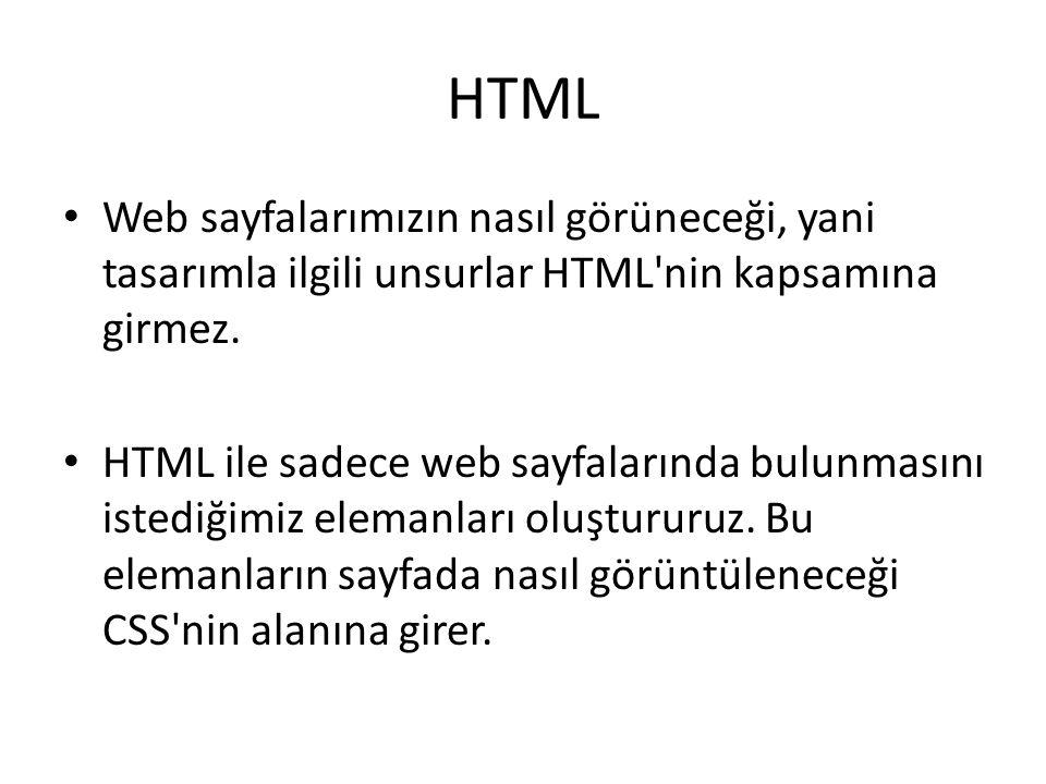 HTML Web sayfalarımızın nasıl görüneceği, yani tasarımla ilgili unsurlar HTML nin kapsamına girmez.