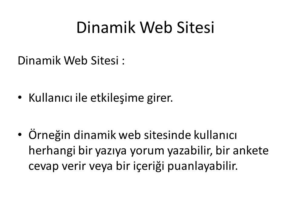 Dinamik Web Sitesi Dinamik Web Sitesi :
