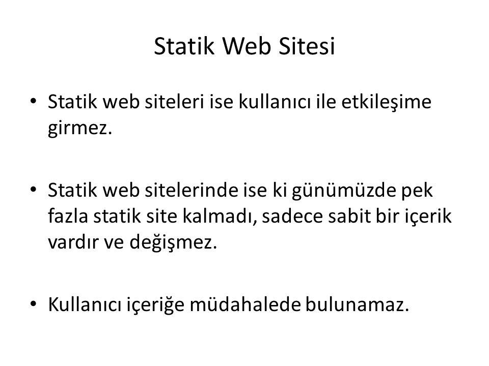 Statik Web Sitesi Statik web siteleri ise kullanıcı ile etkileşime girmez.
