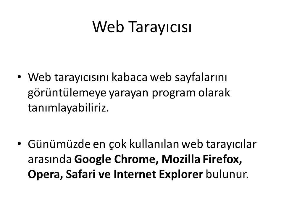 Web Tarayıcısı Web tarayıcısını kabaca web sayfalarını görüntülemeye yarayan program olarak tanımlayabiliriz.